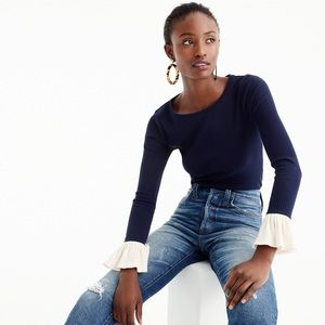 J. Crew | Navy Ribbed Bell Sleeve Top